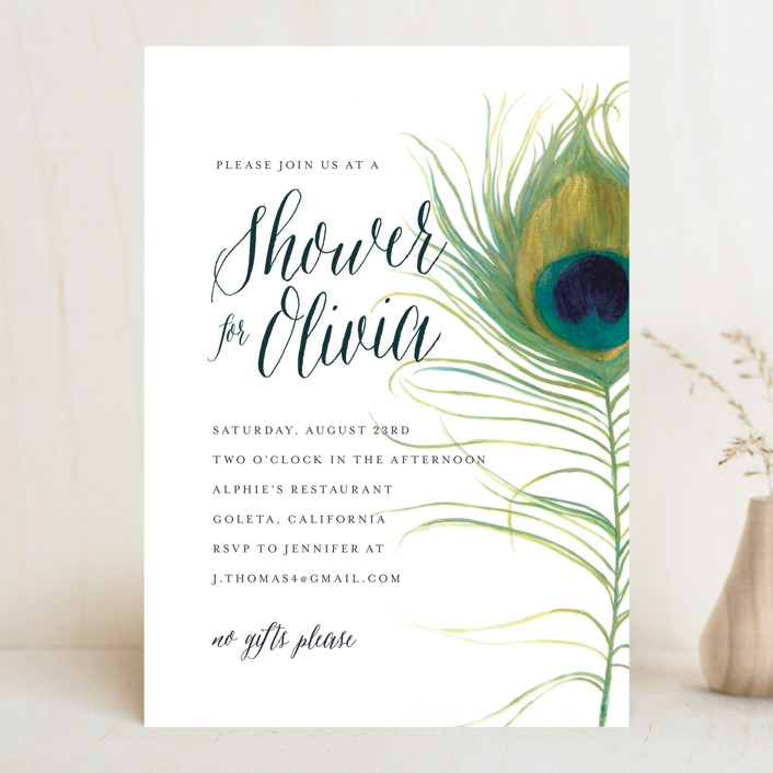 """Peacock"" - Whimsical & Funny, Bohemian Bridal Shower Invitations in Jade by LChantel."