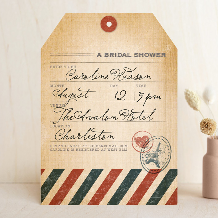 """""""Vintage Pack Your Bags"""" - Destination, Vintage Bridal Shower Invitations in Post Office by Dawn Jasper."""