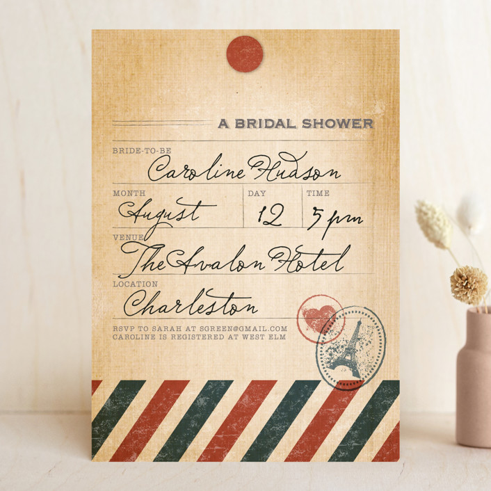 """""""Vintage Pack Your Bags"""" - Vintage Bridal Shower Invitations in Post Office by Dawn Jasper."""
