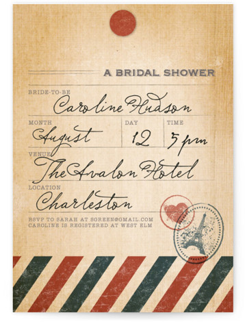 This is a portrait destination, vintage, red, blue Bridal Shower Invitations by Dawn Jasper called Vintage Pack Your Bags with Standard printing on Signature in Classic Flat Card format.