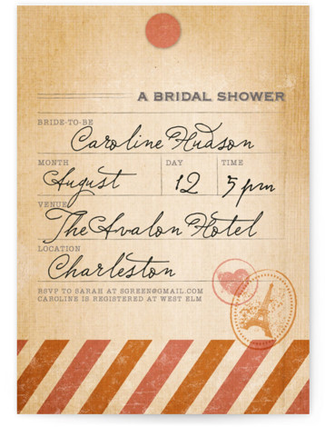 This is a portrait destination, vintage, pink, orange Bridal Shower Invitations by Dawn Jasper called Vintage Pack Your Bags with Standard printing on Signature in Classic Flat Card format. Our unique bridal shower designs are fully customizable, sourced from independent ...