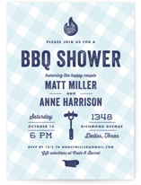 This is a blue bridal shower invitation by Lauren Chism called We Do BBQ with standard printing on signature in standard.