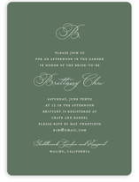 This is a green bridal shower invitation by Jennifer Postorino called Initial with standard printing on signature in standard.