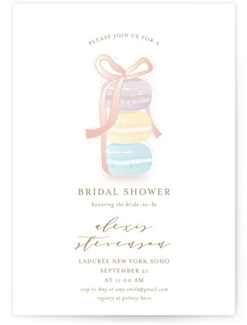 This is a colorful, purple Bridal Shower Invitations by Ana Sharpe called Sweet Gathering with Standard printing on Signature in Classic Flat Card format. An elegant, yet playful bridal shower invitation featuring hand drawn macarons for a dreamy event.