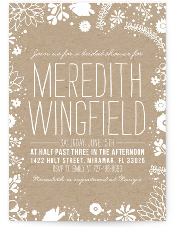This is a portrait brown Bridal Shower Invitations by Bethany Anderson called Craft and Florals with Standard printing on Signature in Classic Flat Card format. Our unique bridal shower designs are fully customizable, sourced from independent designers and printed on ...