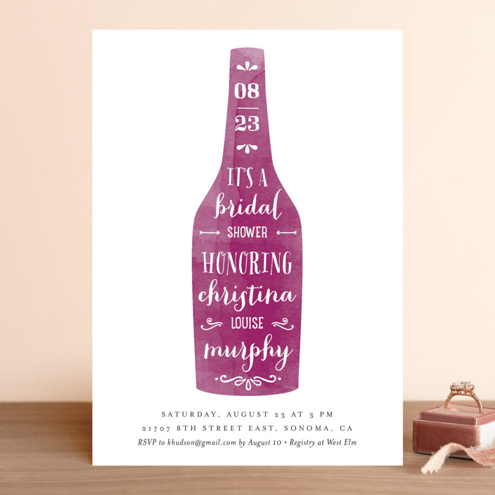 Winery Whimsical Funny Destination Bridal Shower Invitations In Merlot By Chryssi