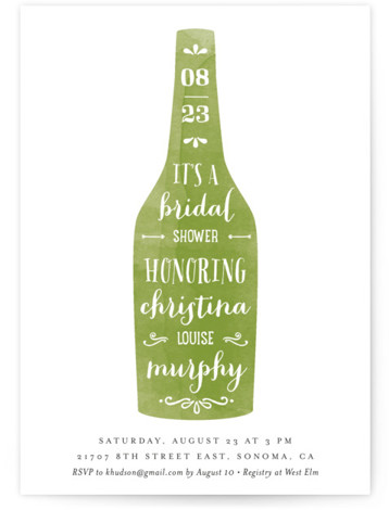 This is a portrait destination, whimsical, winery, green Bridal Shower Invitations by Chryssi Tsoupanarias called Winery with Standard printing on Signature in Classic Flat Card format. Our unique bridal shower designs are fully customizable, sourced from independent designers and printed ...
