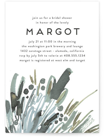 This is a bohemian, green Bridal Shower Invitations by Simona Camp called Wild Flowers with Standard printing on Signature in Classic Flat Card format. A hand painted and original abstract representation of wildflowers give this bridal shower invite a fresh ...