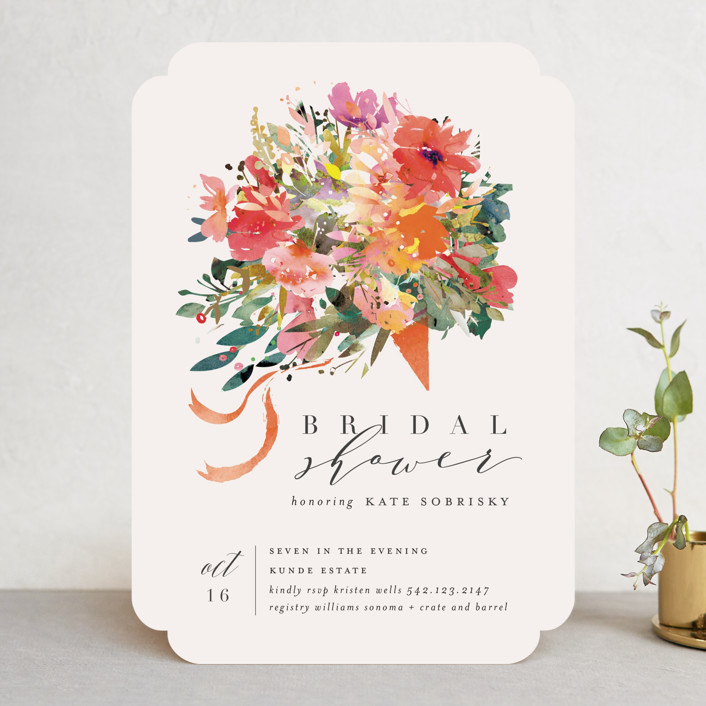 """""""Tossed Bouquet"""" - Bridal Shower Invitations in Sunset by Lori Wemple."""
