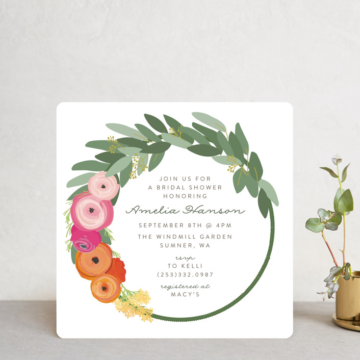 """""""Flower Crown"""" - Bridal Shower Invitations in Brights by Itsy Belle Studio."""