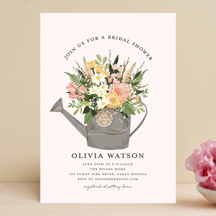"""Flowers & Greens"" - Bridal Shower Invitations in Blush by Susan Moyal."