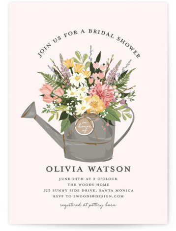 This is a colorful, pink Bridal Shower Invitations by Susan Moyal called Flowers & Greens with Standard printing on Signature in Classic Flat Card format. This bridal shower invitation features a rustic watering can full of beautiful summer blooms.
