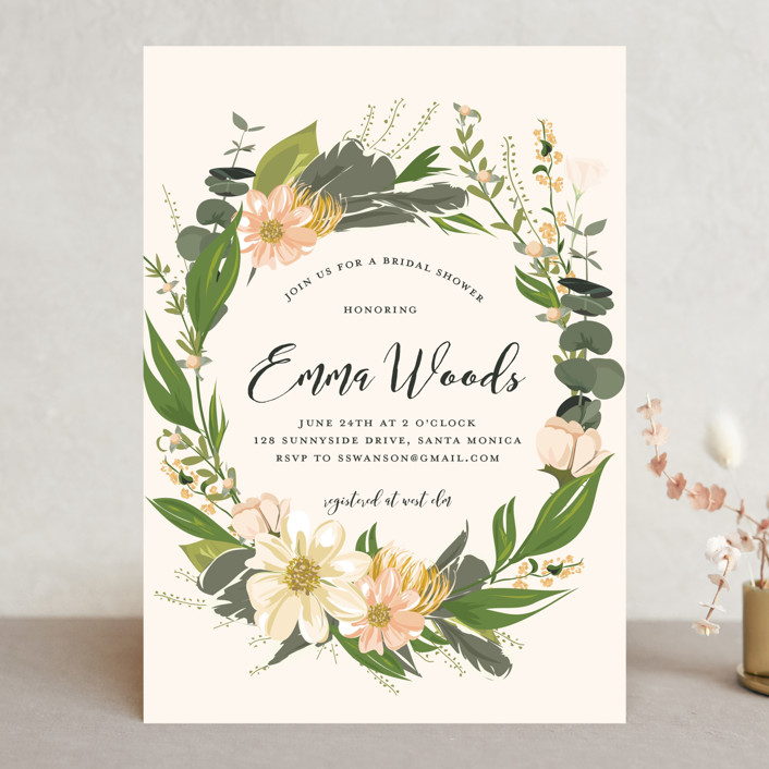 """Floral Love"" - Bridal Shower Invitations in Blush by Susan Moyal."