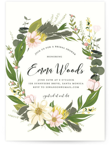 This is a pink Bridal Shower Invitations by Susan Moyal called Floral Love with Standard printing on Signature in Classic Flat Card format. This Bridal Shower invitation features an array of pretty fresh flowers and vines