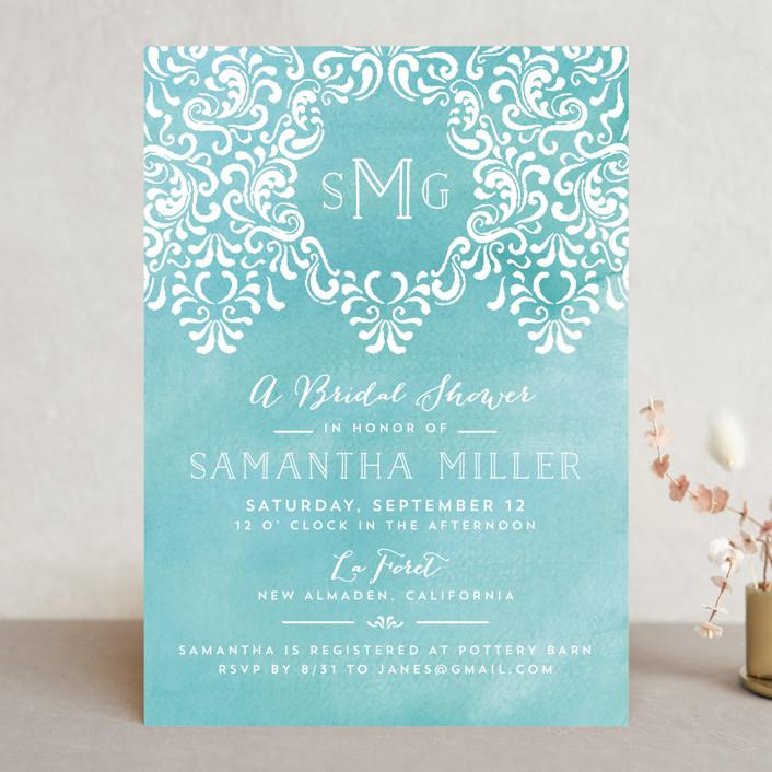 """Wedding Monogram"" - Elegant Bridal Shower Invitations in Ocean by Chris Griffith."
