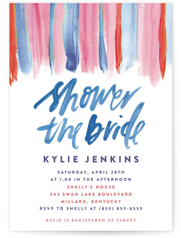 This is a blue Bridal Shower Invitations by Cass Loh called colourful banner with Standard printing on Signature in Classic Flat Card format. This design feature colourful watercolour banner suitable for a bohemian or garden bridal shower