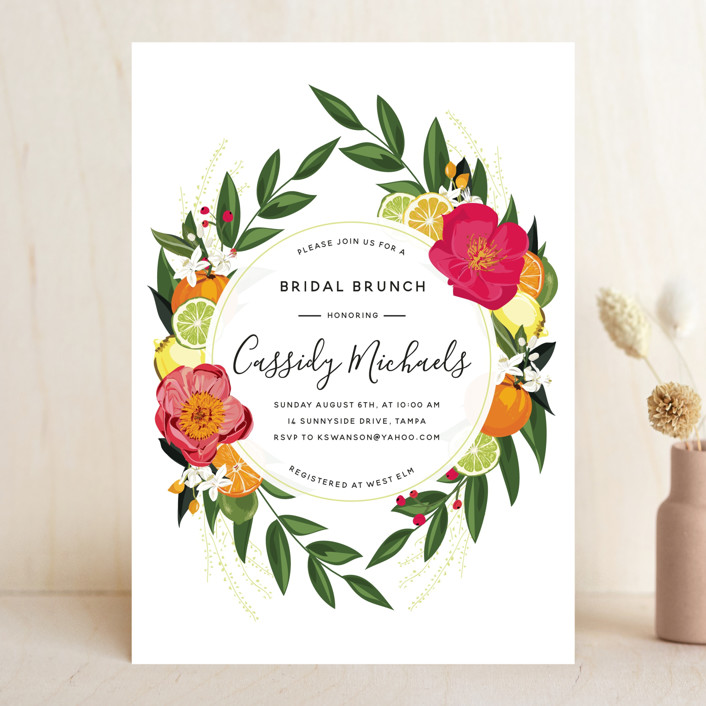 citrus brunch bridal shower invitations in papaya by susan moyal
