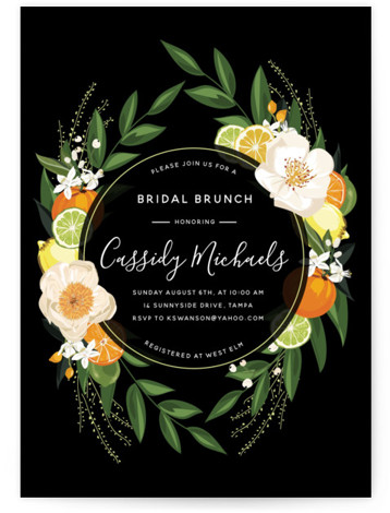 This is a black, colorful, white Bridal Shower Invitations by Susan Moyal called Citrus Brunch with Standard printing on Signature in Classic Flat Card format. This bridal shower invitation features an array of citrus fruits, flowers and greenery.