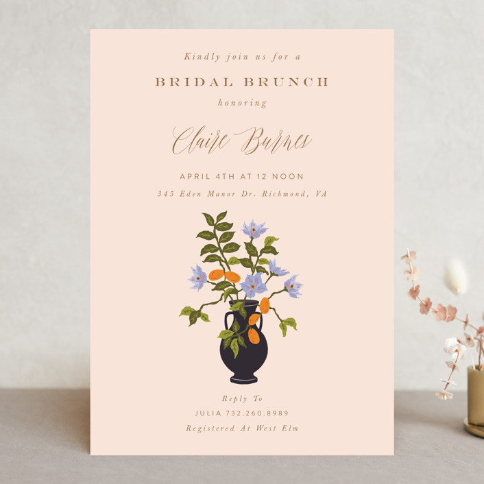 """Kumquat"" - Bridal Shower Invitations in Blush by Nazia Hyder."