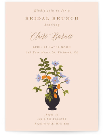 This is a pink Bridal Shower Invitations by Nazia Hyder called Kumquat with Standard printing on Signature in Classic Flat Card format. This classic piece, inspired by colonial art is perfect for the modern day bride with bright pops of ...
