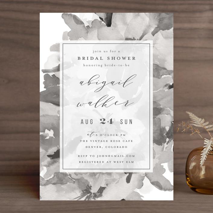 """""""Subtle Blooms"""" - Bridal Shower Invitations in Blush by Grace Kreinbrink."""