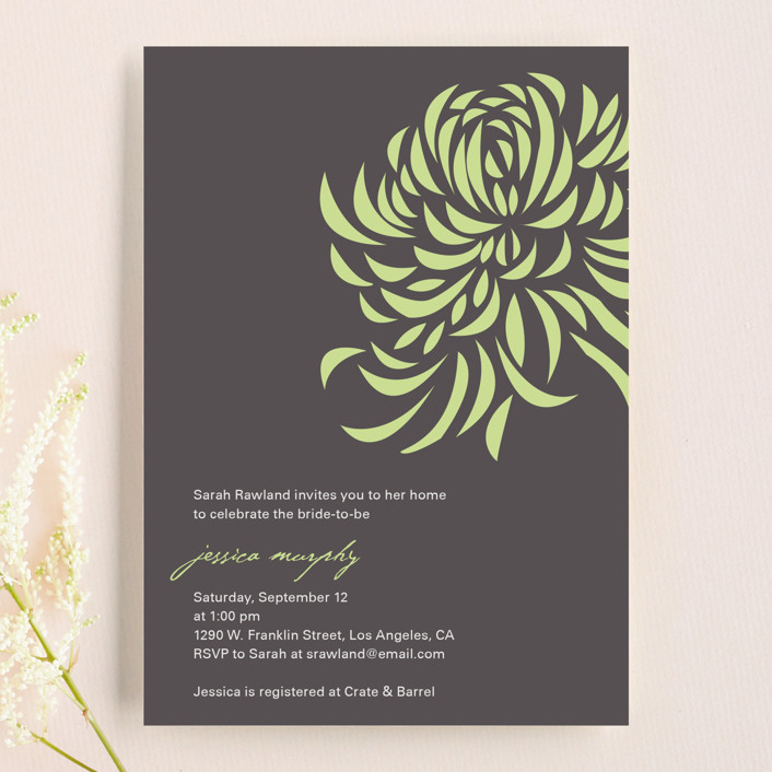 """""""Bridal Blooms"""" - Modern Bridal Shower Invitations in Pear by R studio."""