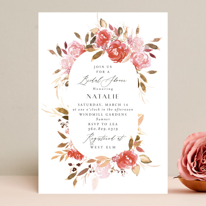 """""""Cascading"""" - Bridal Shower Invitations in Cardinal by Itsy Belle Studio."""
