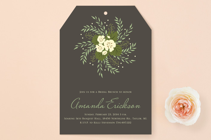 """Love in a Spiral"" - Floral & Botanical Bridal Shower Invitations in Slate by Dreaming Inspirations."