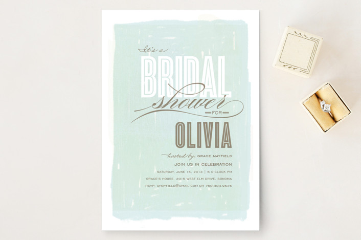 """Aqueous"" - Whimsical & Funny, Hand Drawn Bridal Shower Invitations in Dew by Griffinbell Paper Co.."