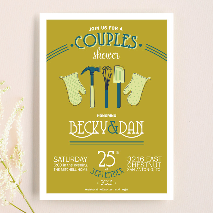 """""""Couples Kitchen"""" - Whimsical & Funny, Vintage Bridal Shower Invitations in Teal by Beth Schneider."""