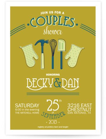 This is a portrait vintage, whimsical, yellow, blue Bridal Shower Invitations by Beth Schneider called Couples Kitchen with Standard printing on Signature in Classic Flat Card format.