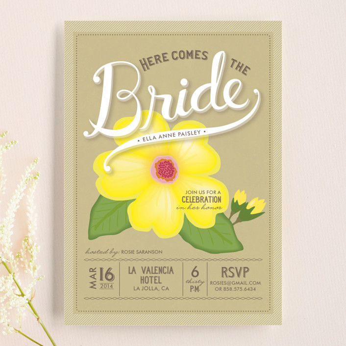"""Blossoming Bride"" - Floral & Botanical, Hand Drawn Bridal Shower Invitations in Sunshine by Griffinbell Paper Co.."
