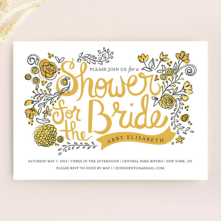 """Wild Garden"" - Floral & Botanical, Vintage Bridal Shower Invitations in Sunshine by Snow and Ivy."