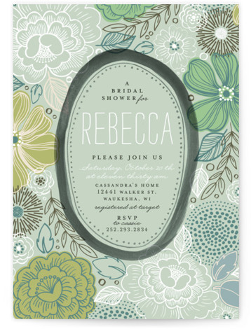 This is a portrait bold typographic, floral, hand drawn, green, blue Bridal Shower Invitations by Alethea and Ruth called Peony Frame with Standard printing on Signature in Classic Flat Card format.