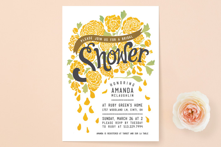 """Raining Peonies"" - Floral & Botanical, Hand Drawn Bridal Shower Invitations in Golden by Betty Hatchett."