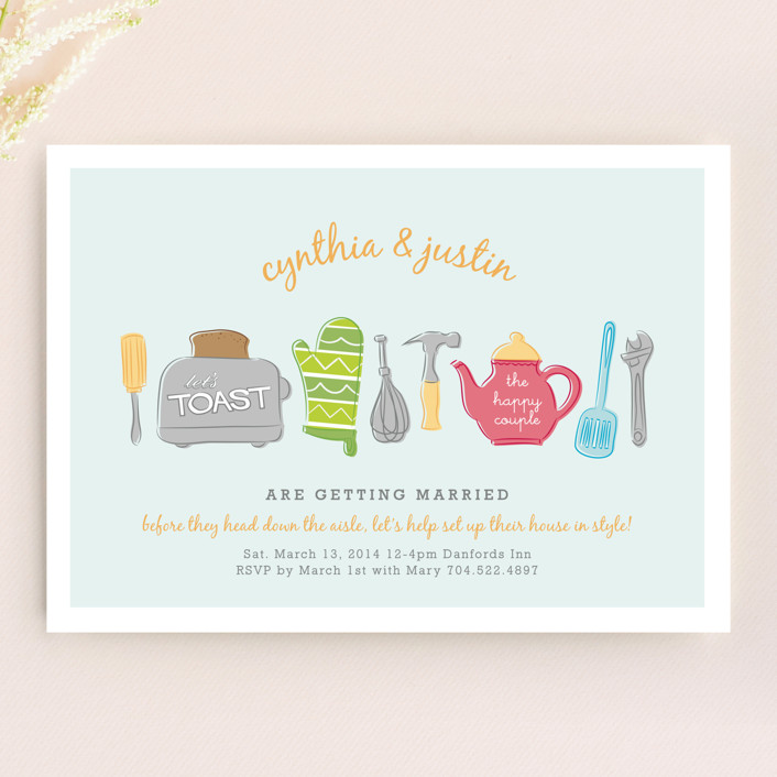 """Toast the Happy Couple"" - Whimsical & Funny Bridal Shower Invitations in Blueberry by Christina Novak."