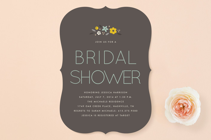 """""""Simply Floral"""" - Modern, Floral & Botanical Bridal Shower Invitations in Charcoal by Amber Barkley."""