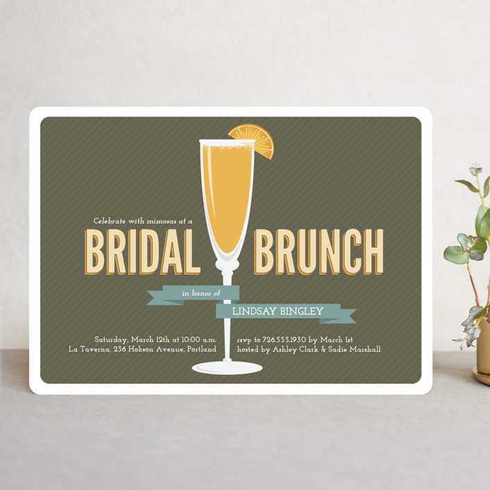 """Fresh Mimosa"" - Bold typographic, Modern Bridal Shower Invitations in Chocolate by Jessica Williams."