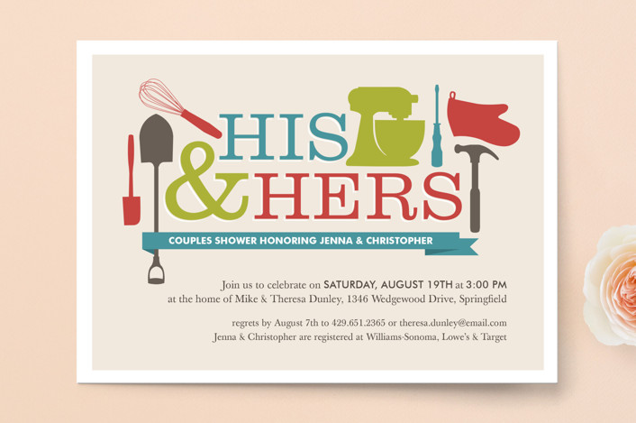 """""""Household Mix Up"""" - Bold typographic, Modern Bridal Shower Invitations in Cherry by Jessica Williams."""