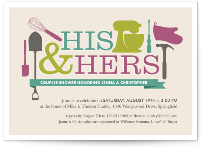 This is a landscape bold typographic, modern, purple, green, blue Bridal Shower Invitations by Jessica Williams called Household Mix Up with Standard printing on Signature in Classic Flat Card format.