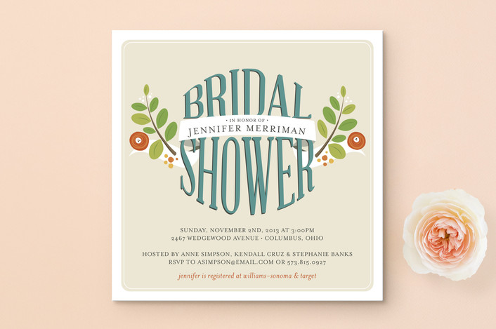 """Botanical Banner"" - Floral & Botanical, Bold typographic Bridal Shower Invitations in Tangerine by Jessica Williams."