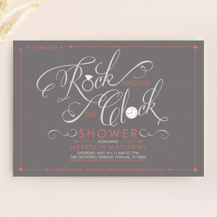 """Rock Around the Clock"" - Modern, Whimsical & Funny Bridal Shower Invitations in Coral by Rachel Luetkemeyer."