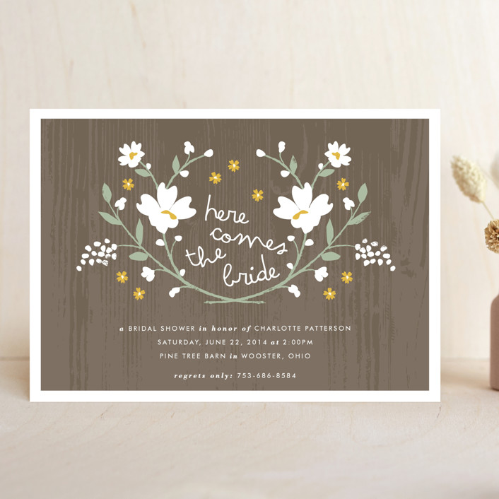 """Rustic Wildflowers"" - Rustic, Floral & Botanical Bridal Shower Invitations in Goldenrod by Kristie Kern."