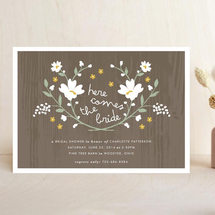 """Rustic Wildflowers"" - Rustic, Floral & Botanical Bridal Shower Invitations in Goldenrod by Kristie Kern."
