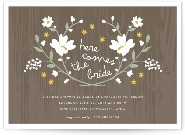 This is a landscape floral, rustic, yellow Bridal Shower Invitations by Kristie Kern called Rustic Wildflowers with Standard printing on Signature in Classic Flat Card format. Our unique bridal shower designs are fully customizable, sourced from independent designers and printed ...