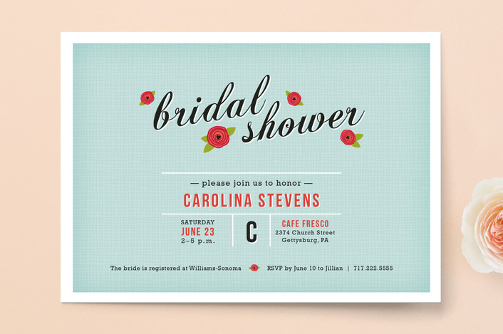 """Poppy Flower"" - Floral & Botanical, Whimsical & Funny Bridal Shower Invitations in Teal by Meghan Johnson."