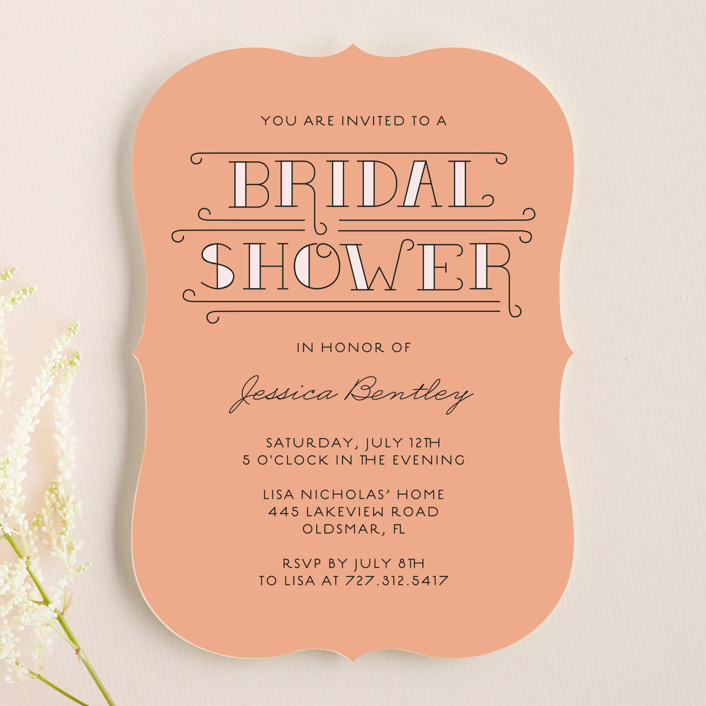 """""""Bliss"""" - Modern, Bold typographic Bridal Shower Invitations in Coral by Serenity Avenue."""