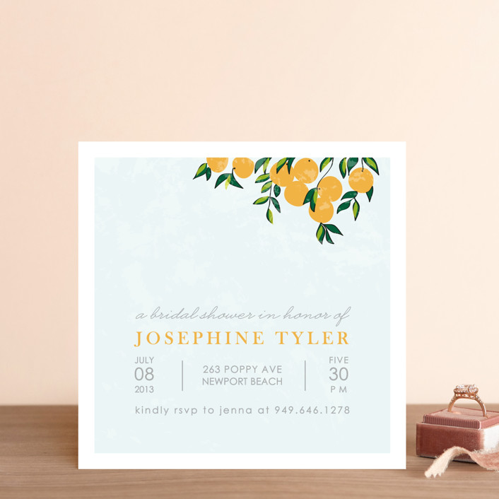 """""""Orange Tree"""" - Whimsical & Funny Bridal Shower Invitations in Sky by Monica Schafer."""