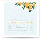 This is a blue bridal shower invitation by Monica Schafer called Orange Tree with standard printing on signature in standard.