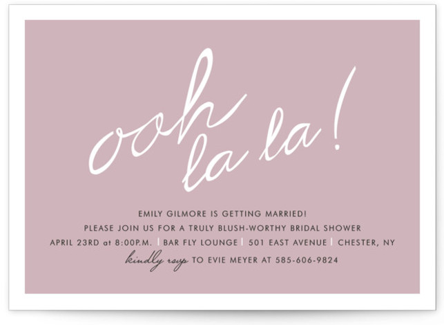 This is a landscape hand drawn, whimsical, purple Bridal Shower Invitations by Up Up Creative called Make Her Blush with Standard printing on Signature in Classic Flat Card format. Our unique bridal shower designs are fully customizable, sourced from independent ...